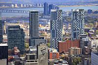 Canada, Quebec, Montreal, skyline, apartment buildings, condominiums, Leonard Cohen image,.