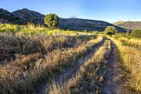 Ruts in the pathway to The Cabreras and Cow and Mondalindo peaks on the background, early in the morning. Sierra de Guadarrama. Madrid. Spain. Europe.