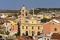Die griechisch-orthodoxe Kathedrale der drei Märtyrer in Chania, Kreta, Griechenland, Europa   Trimartiri Cathedral in Chania, Crete, Greece, Europe.