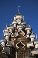 Domes of Vhurch of Trabsfiguration at Kizhi Pogost, Karelia, Russia.