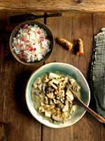 creamy rice with cauliflower mushrooms and turkey.