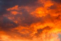 Sunrise Bright Dramatic Sky. Scenic Colorful Sky At Dawn. Sunset Sky Natural Abstract Background In Red Orange Colors.