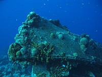 Wreck in the caribbean sea around Bonaire, Dutch Antilles.