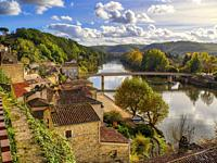 old town and Lot River, Puy-lEveque, Lot Department, Occitanie Region, France.