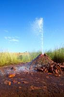 False geyser in Pozuelo de Aragón, Spain. It is an old abandoned water study that looks like a real geyser.