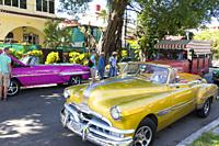 American cars in Havana. Many are used as taxi.