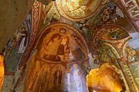 Frescoes in Sandal Church, Goreme, Cappadocia, Turkey.
