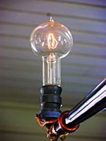 First light bulb invented by Thomas Edison at Menlo Park Office and LIbrary at Historic Greenfield Village and Henry Ford Museum located at Dearborn M...