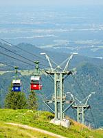 Cable car Kampenwandseilbahn. Aschau in the Chiemgau in the bavarian alps. Europe, Germany, Bavaria.