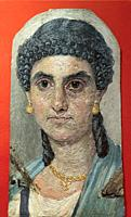 Woman in a Blue Mantle, 54-68 AD, Painted Mummy Portrait, Metropolitan Museum of Art, Manhattan, New York City, USA, North America.