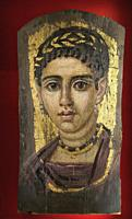 Young Woman with a Gilded Wreath, Painted Mummy Portrait, 120-140 AD, Metropolitan Museum of Art, Manhattan, New York City, USA, North America.