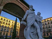 Daoiz and Velarde monument in the Dos de Mayo Square, MADRID, SPAIN, EUROPE.