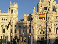 Cibeles Square and Town Hall at sunset, MADRID, SPAIN, EUROPE.