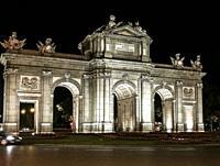 Puerta de Alcalá at night, MADRID, SPAIN, EUROPE.
