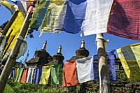 Pelling, India - October 2020: Prayer flags and stupas in the Buddhist Sanghak Choeling Monastery in Pelling on October 31, 2020 in Sikkim, India.