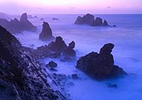 Dusk and waves in the Cantabrian Sea in the surroundings of Costa Quebrada in the Los Urros de Liencres area in the Municipality of Piélagos in the Au...
