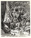 Don Quixote amongst his books in his library. Don Quixote by Miguel de Cervantes Saavedra. Old XIX century engraving illustration by Gustave Dore.