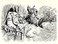 Don Quixote by Miguel de Cervantes Saavedra. Old XIX century engraving illustration by Gustave Dore.