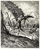 Don Quixote tilting at Windmills. Don Quixote by Miguel de Cervantes Saavedra. Old XIX century engraving illustration by Gustave Dore.