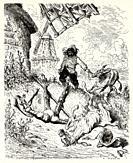 Sancho comes to Don Quixote's aid. Don Quixote by Miguel de Cervantes Saavedra. Old XIX century engraving illustration by Gustave Dore.