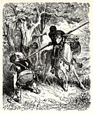 Don Quixote what befell the knight after he had left the Inn. Don Quixote by Miguel de Cervantes Saavedra. Old XIX century engraving illustration by G...