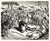 Don Quixote he thrashed him like a wheat-sheaf. Don Quixote by Miguel de Cervantes Saavedra. Old XIX century engraving illustration by Gustave Dore.