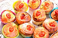 finger food of typical Italian cuisine muffins with homemade vegetables and ricotta.