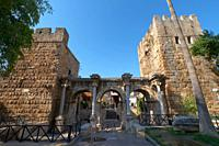 Hadrian's gate triumphal arches in Antalya old town, Turkey.