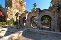 Hadrian's castle gate triumphal arches in Antalya old town, Turkey.