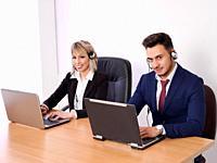 Operators with positive aptitude answering customer calls.