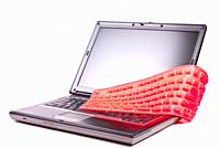 laptop and flexible magenta keyboard isolated.