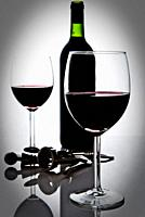 bottle of wine and wineglasses.