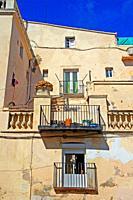 balconies and terrace of housing, Vilanova i la Geltrú, Catalonia, Spain