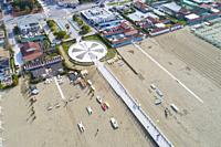 Long sandy beach in Forte dei Marmi, Province of Lucca, Italy.