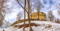 Terebovlia, Ukraine 01. 06. 2020. The ruins of the old Terebovlia castle, Ternopil region of Ukraine, on a sunny winter day.
