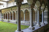 Piona, Colico, Province of Lecco, region Lombardy, eastern shore of Lake of Como, Italy. . Abbey of Piona. The cloister of the priory. XIII century A....