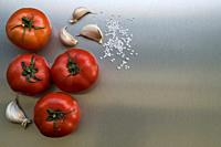 Natural tomatoes with garlic and salt.