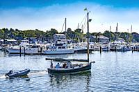 Goiing Out to Sea Catboat Sailboats Yacht Club Piers Docks Padanaram Harbor Buzzards Bay Dartmouth Massachusetts. . .