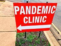 A pandemic Clinic road sign in Darwin, northern Territory, Australia.