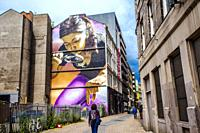 Honey I Shrunk The Kids by Smug, Mitchell Street art mural, Glasgow city center, Scotland, United Kingdom, Europe.
