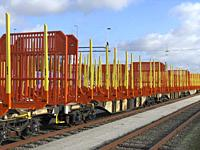 Railroad wagons for timber transport on trackyards at Ystad railroad station, Scania, Sweden, Scandinavia.