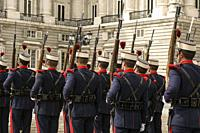 Solemn Changing of the Royal Guard, Royal Palace, XVIII century, . MADRID,SPAIN, EUROPE.