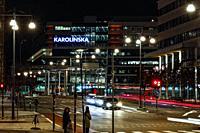 Stockholm, Sweden The intersection at night of Norra Stationsgatan and Torsgatan and the Karolinska hospital.
