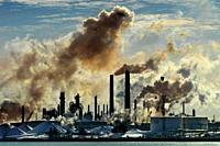 air pollution frrom chemical valley in Sarnia Ontario Canada bordering Port Huron Michigan USA from oil refineries.