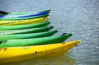 Kayaking on the Guadalquivir river, Seville, Andalucia, Spain, Europe.