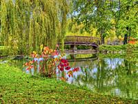 municipal park in autumn, Lauzun, Lot-et-Garonne Department, Nouvelle-Aquitaine, France.