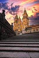 Cathedral in Obradoiro square. santiago de compostela. galicia. spain.