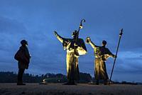 sculpture of pilgrims of the Monte del gozo. santiago de compostela. galicia. spain.