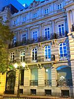 Facade of building, night view. Marques de Salamanca Square, Madrid, Spain.