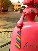 Menina sculpture, close view. Serrano street, Madrid, Spain.